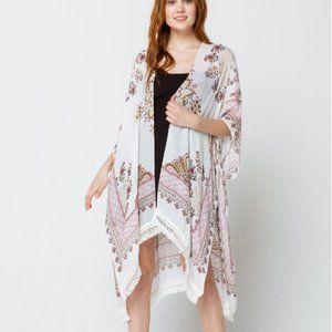 Woven Heart Around Sundown Kimono Cover Up Large